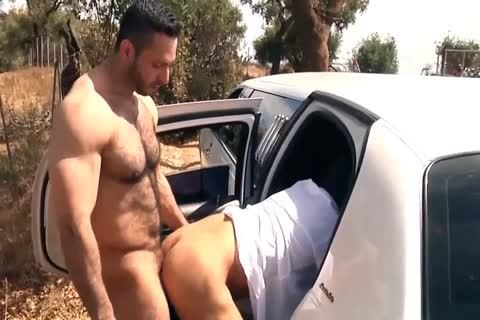 pretty brawny dude receives covered In cum In The Car
