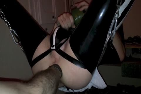 ally Opening My hole In Sling With Popper And Rubber
