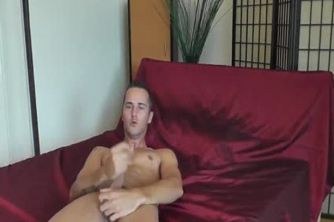 Skinny chap Whips Out His cock In sofa