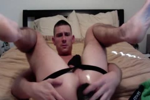 excited guy loves Feeding His ass Dildos