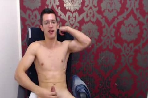 twink With Glasses Wanks His large Uncut knob
