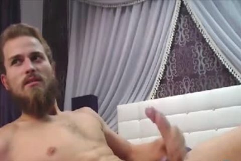 Bearded dude With A large Uncut Curved knob Cums