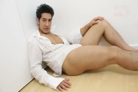 A Very good Asain lover Interviews And Then Wanks His penis For All To see