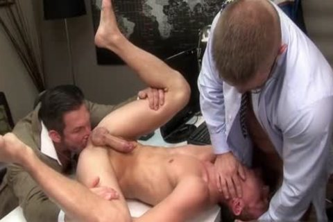 gigantic knob gay three-some With Facial