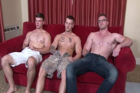 Muscle homosexual three-some And ejaculation