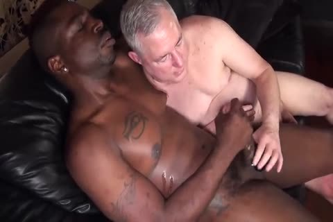 darksome fellow pounds old daddy bare