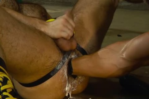 hairy cock Fisting With dick juice flow