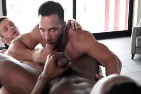 Muscle homosexual threesome And Facial