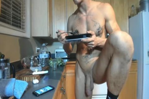 Hung built guy Showing Off In The Kitchen
