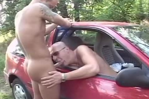 Two sexy men plow In The Woods In The Back Of His Car