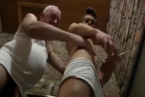 good Looking grand-dad & young chap suck Each Other In A Public