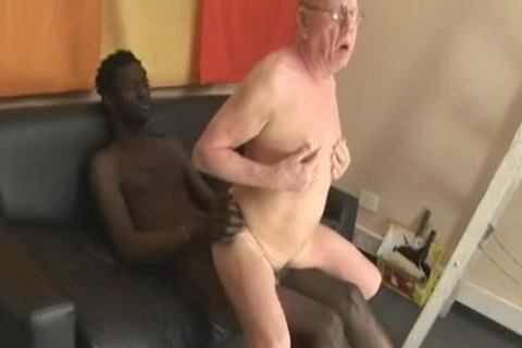 grandpa sucking & Getting drilled By large darksome schlong