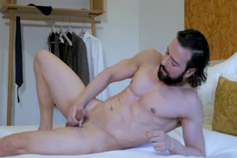 lusty Suited man jerking off & butthole Play