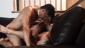 Pierre Fitch acquires hammered bare On A Leather sofa - American Love