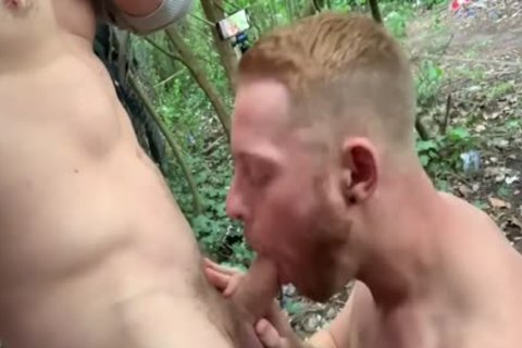 Two adorable dudes Have Sex In Woods - Third Lad Joins In