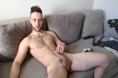 brawny Muscled lad Alex With nice Body Hair And cream flow