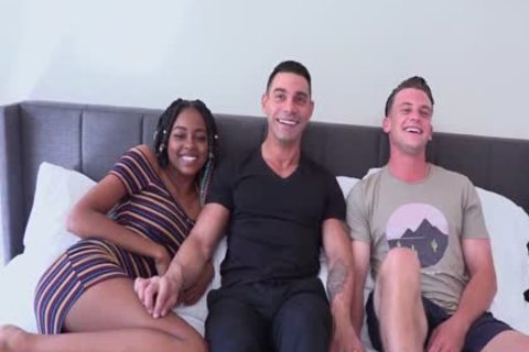 Male+Male+Female Bi 3some big Uncut EURO 10-Pounder Marcos WRECKS tasty gap On charming Bottom chap Adam while nasty ebony Destiny Cums From Her toy!