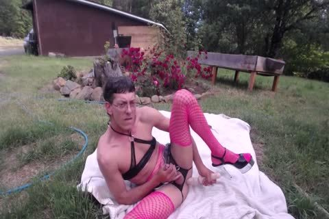 Outdoor dildo & Shovel pound For cream drinking CD Sissy Pantyboy