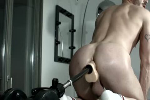 Muscled serf For Pervy fuck Machine Session