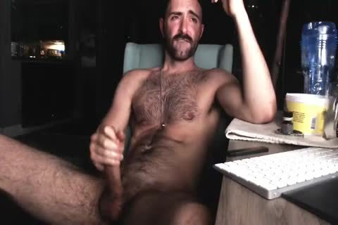bushy Chest dude jerking off His humongous rod And Shooting humongous Load Of sperm