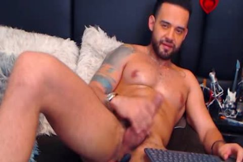 Logan Cardenas On Flirt4Free - Hunk Latino cam Model Hard Jerks His shlong With dildos Up His a-hole