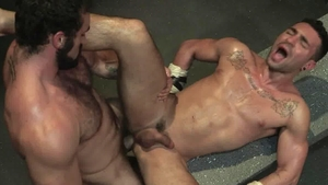 Raging Stallion: Ian Greene & hairy Bruno Bernal cumshot