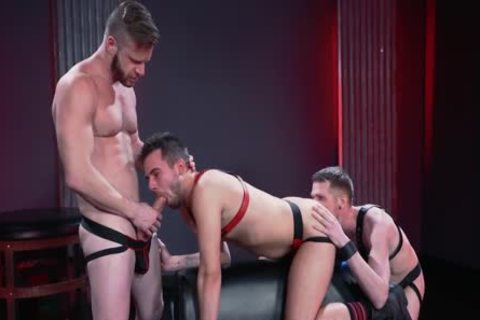 Mysterious Leather three-some Deepthroat, slam And Fist