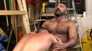 PrideStudios - Muscle Saxon West masturbating receiving facial