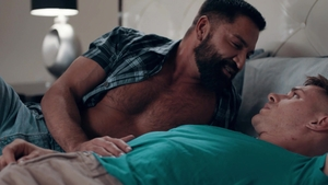 IconMale: Latin Dominic Pacifico sensual kissing indoors