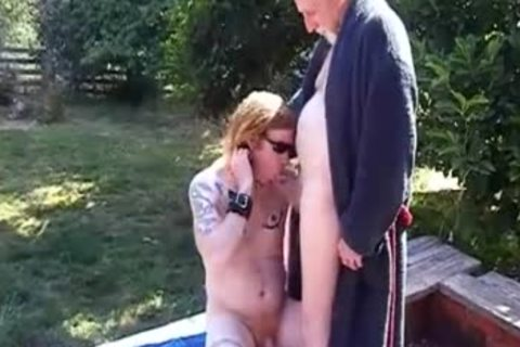 grandpa Coaxes Emo neighbour twink Into The Back Yard