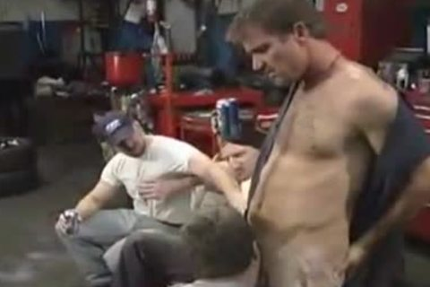 group of ex con mechanics have lovely homosexual orgy